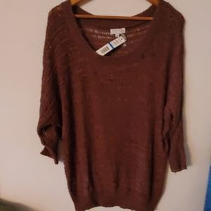 Joseph Allen Brown Open Knit Sweater XL